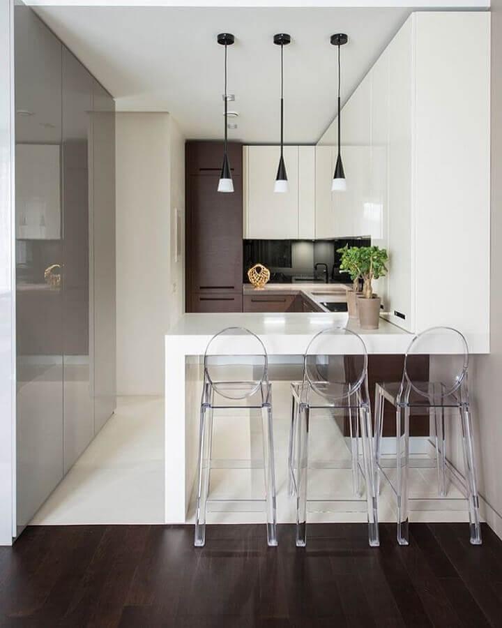 pendentes para cozinha pequena e moderna Foto JV Arquitetura & Interiores