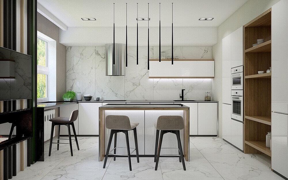 pendentes pretos e minimalistas para cozinha