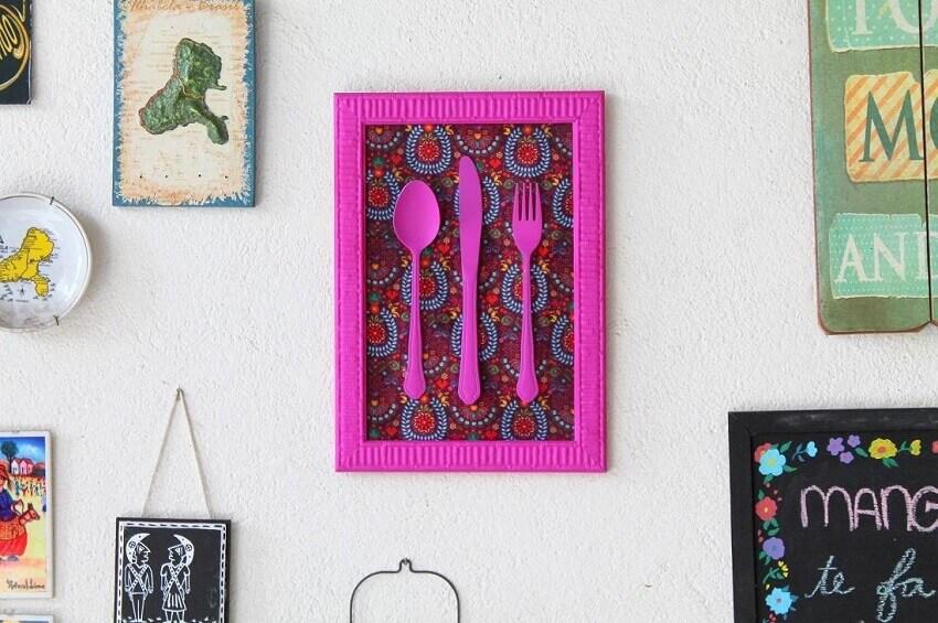 quadro de talheres como artesanato para cozinha