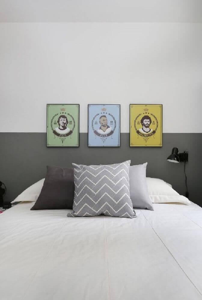 quadros de jogadores decoração de quarto masculino