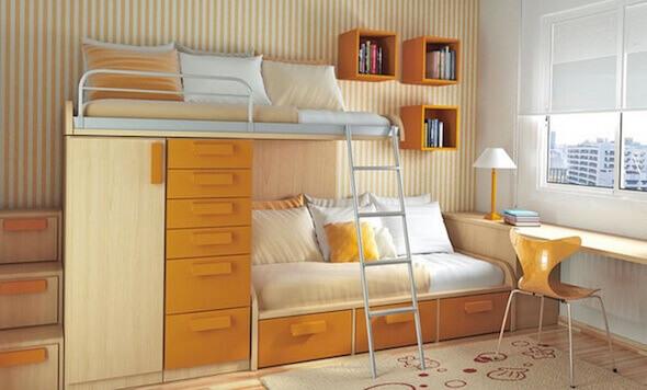 quarto com beliche com armário embutido