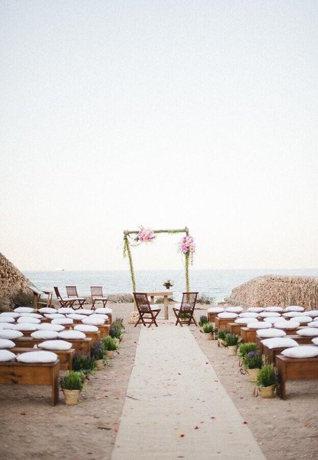 rústica decoração de casamento na praia simples