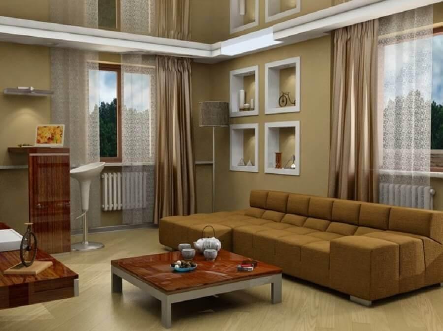 sala de estar com nichos brancos embutidos