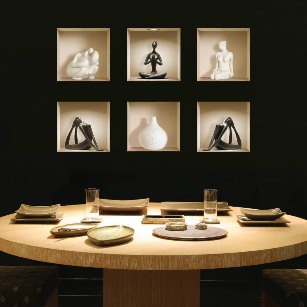 sala de estar sofisticada com nichos embutidos