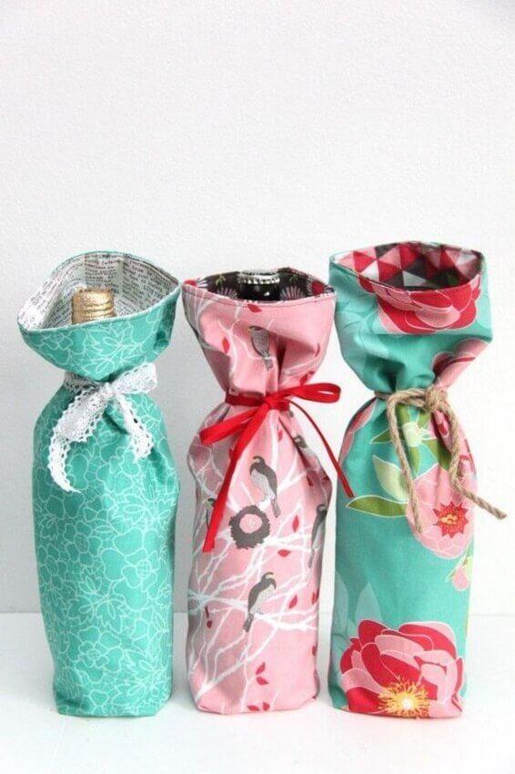 saquinhos coloridos de artesanato em tecido para cozinha