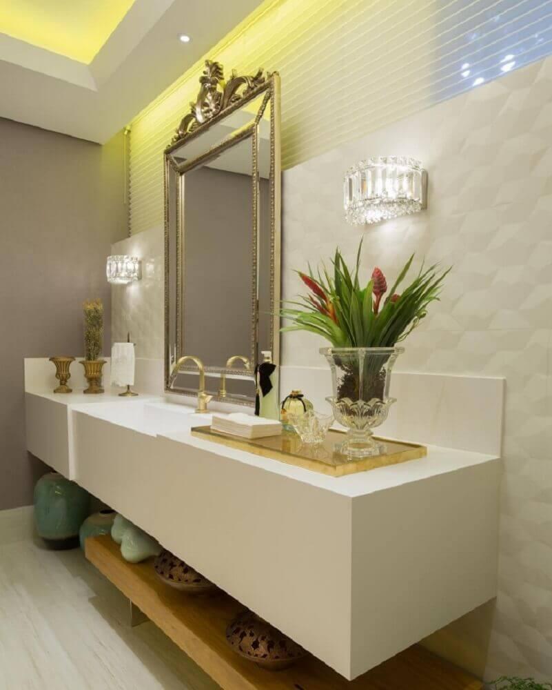 sofisticado banheiro com bancada de silestone branco