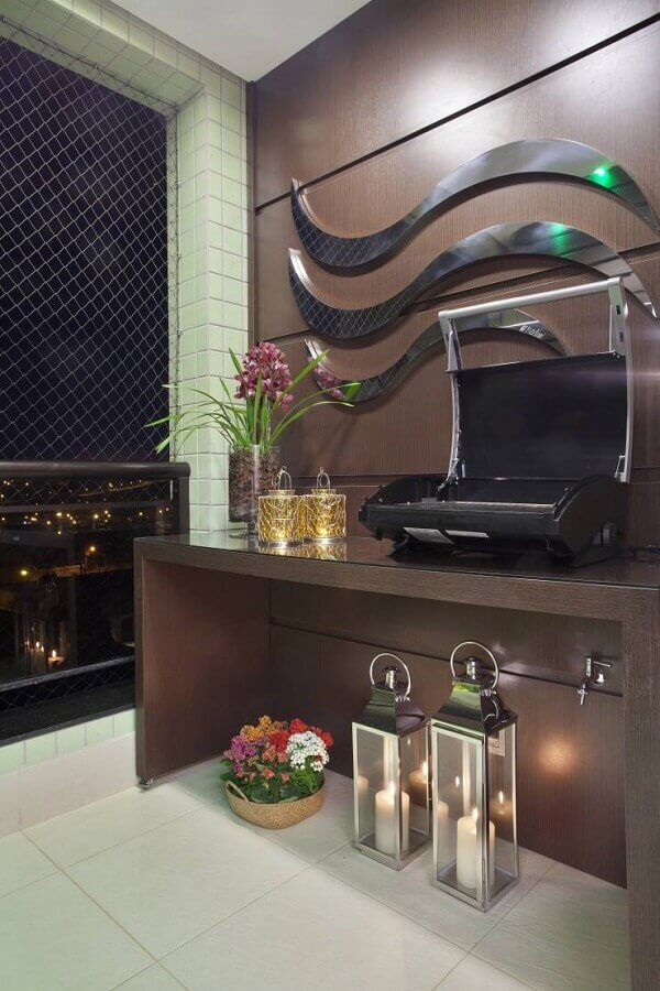 varanda com churrasqueira elétrica portátil