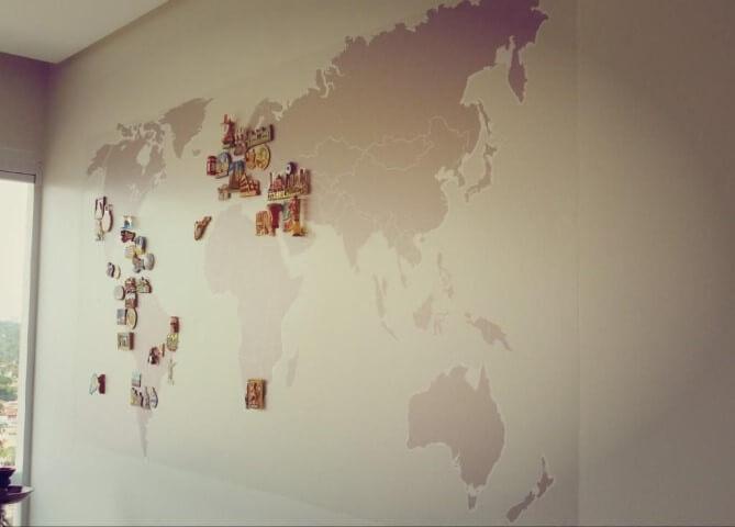 Adesivos de Parede para Quarto do mapa-múndi Projeto de Condecorar