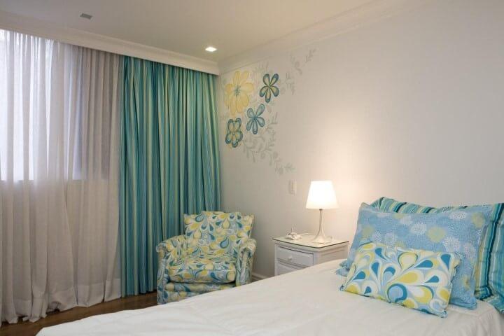 Adesivos de parede para quarto de flor Projeto de Lucia Tacla