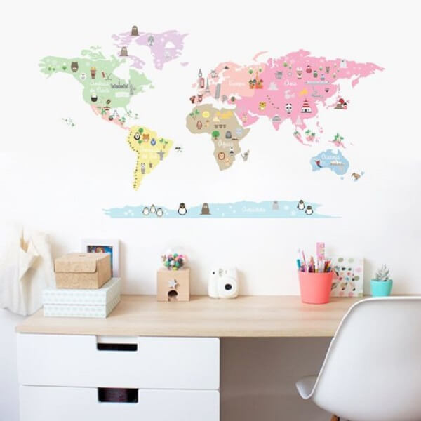 Adesivos para parede de quarto Mapa Mundi. Fonte: Pinterest