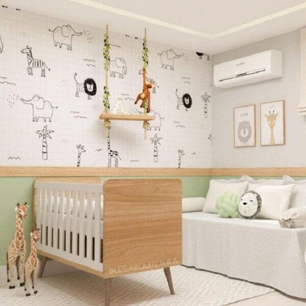 Adesivos para parede de quarto com temática safari. Fonte: Pinterest