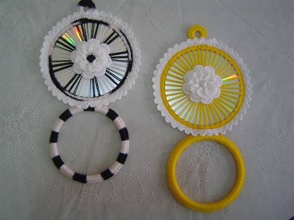 Artesanato com CD e crochê