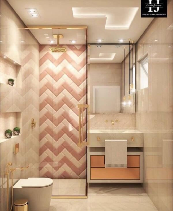 Azulejo para banheiro com estampa criativa em zigue-zague nos tons rosa e branco