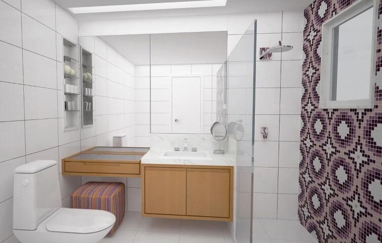 Azulejo para banheiro de ladrilho roxo Projeto de Camila Muniz