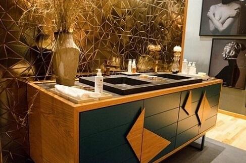 Azulejo para banheiro dourado Projeto de Casa Cor SP 2017