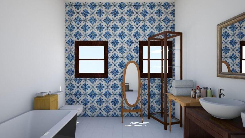 Azulejo para banheiro hidráulico azul