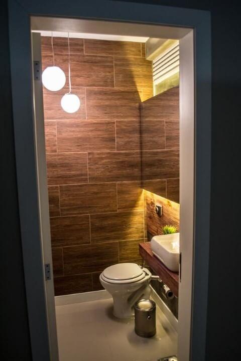Azulejo para banheiro marrom Projeto de Ambientta Arquietura