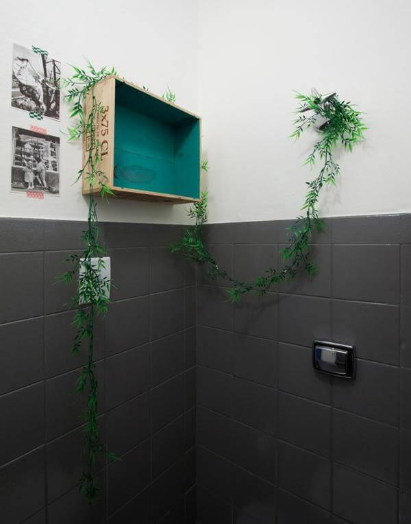 Azulejo para banheiro pintado de cinza Projeto de Buji