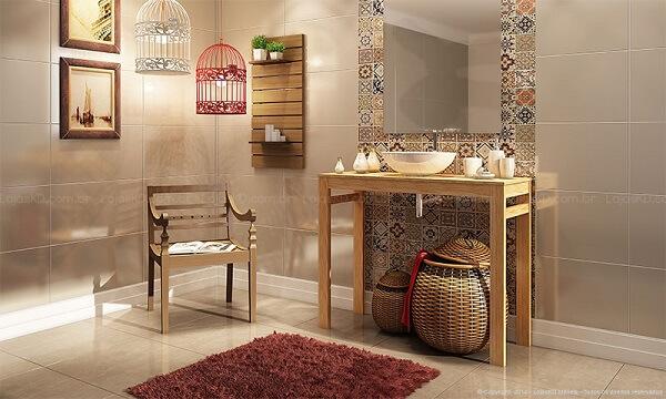 Azulejo para banheiro português encanta a decoração desse ambiente