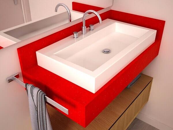 Bancada de banheiro silestone vermelha