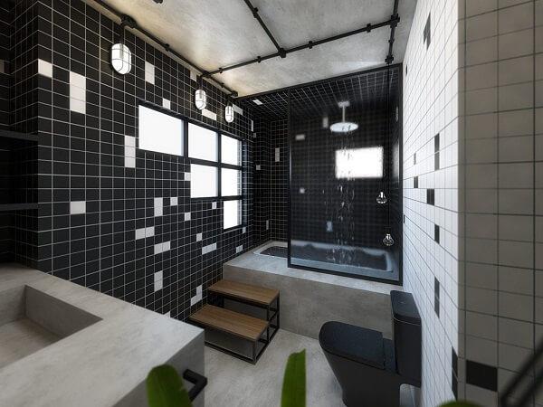 Decoração clássica com azulejo para banheiro em tons branco e preto