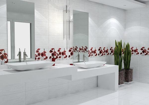 Decoração clean com azulejo para banheiro floral