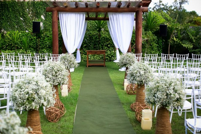 Decoration rustic wedding with outdoor altar