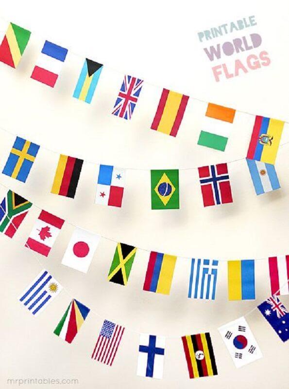 Decoração de copa do mundo - Varal de bandeiras
