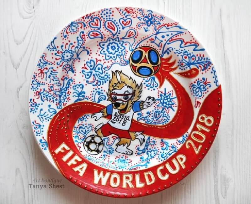 Decoração de copa do mundo - prato de parede