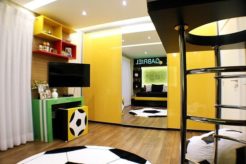 Decoracao quarto de menino futebol Projeto de Andre Abento