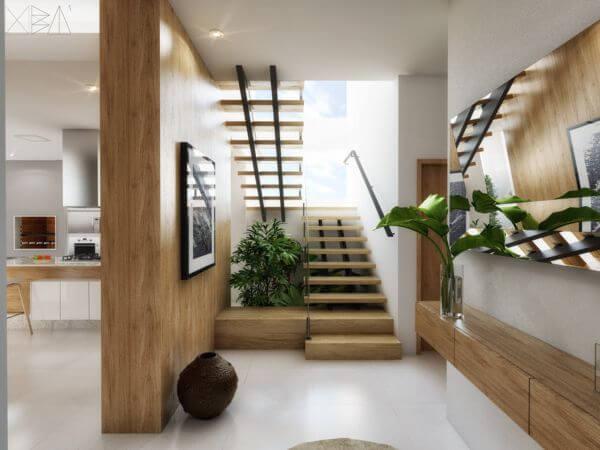 Escada de ferro e madeira Projeto de Uba Arquitetura