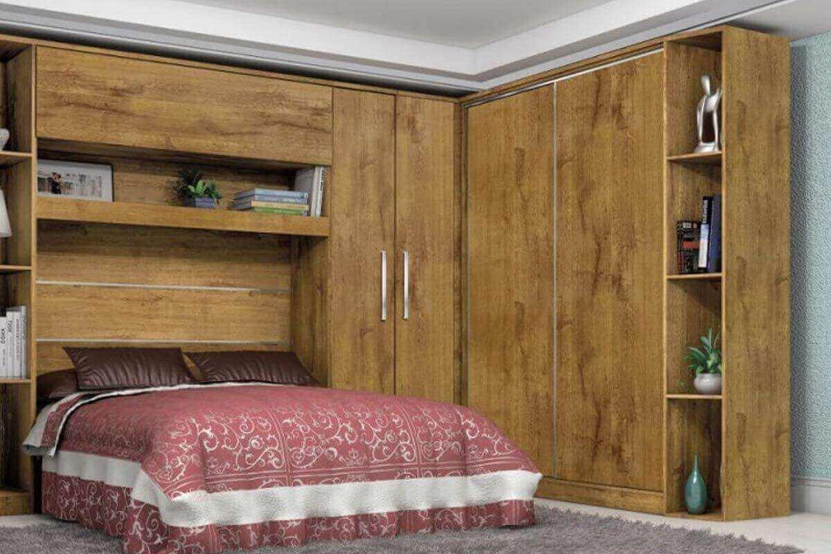 Guarda roupa modulado de canto em madeira