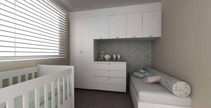 Guarda roupa modulado e cama