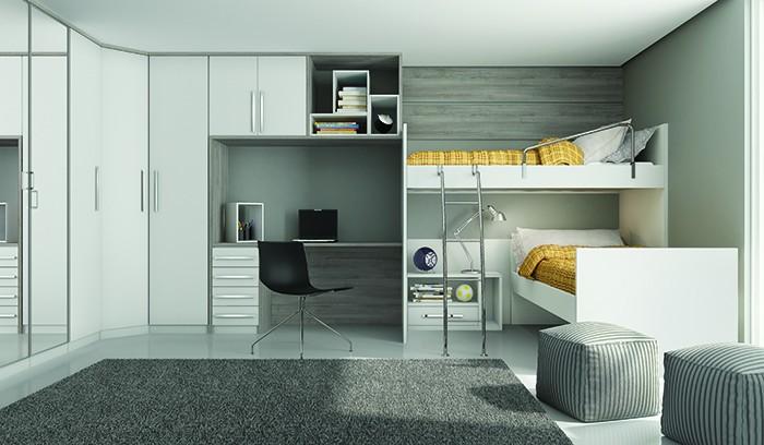Guarda roupa modulado em quarto beliche