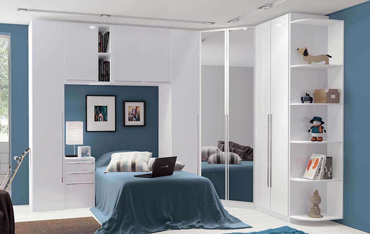 Guarda roupa modulado individual com espelho