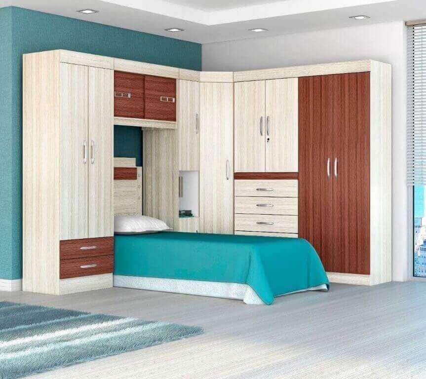 Guarda roupa modulado para quarto de solteiro