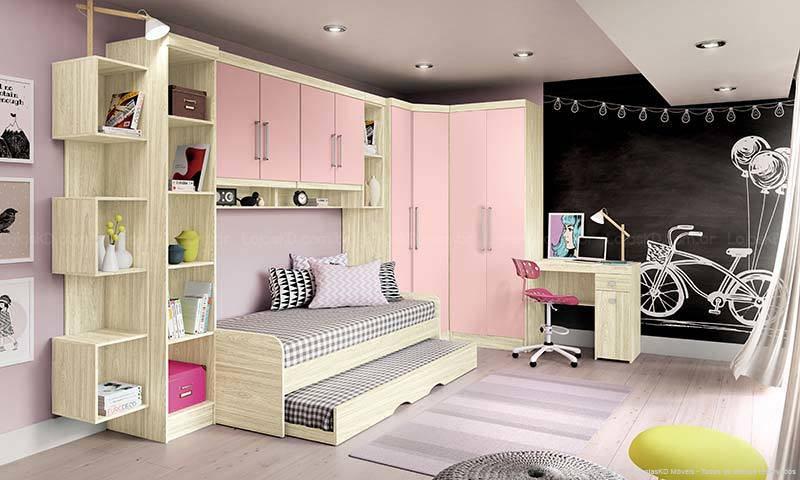 Guarda roupa modulado rosa