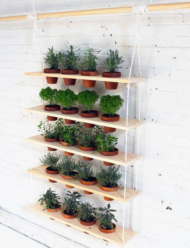 Horta em casa suspensa com vasinhos Foto de Good News Architecture