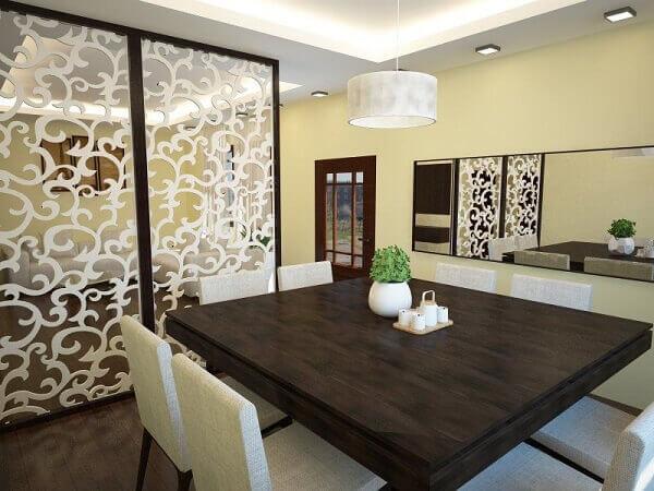 Mesa para sala de jantar com cadeiras brancas