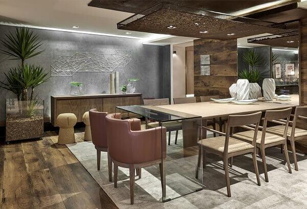 Mesa para sala de jantar com luminária interativa