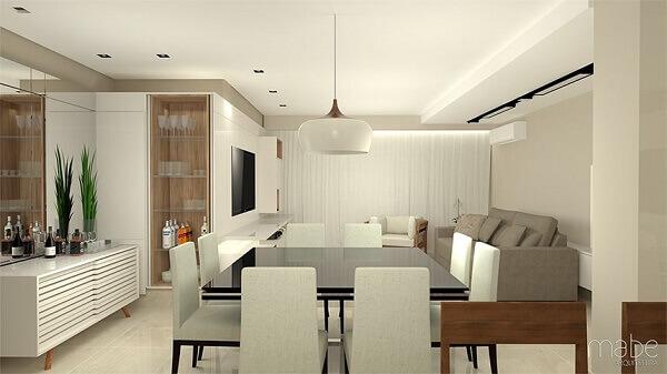 Mesa para sala de jantar em ambiente integrado