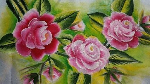 Pintura em tecido com fundo verde