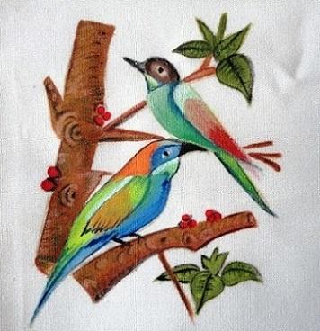 Pintura em tecido com pássaro