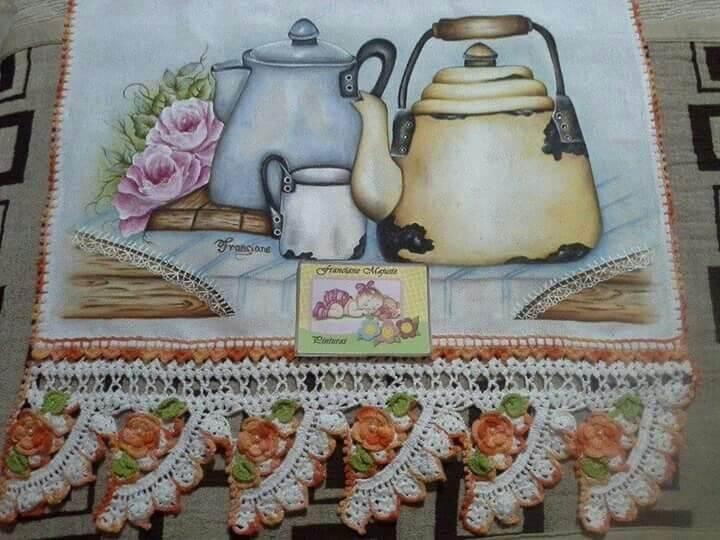 Pintura em tecido de pano de prato