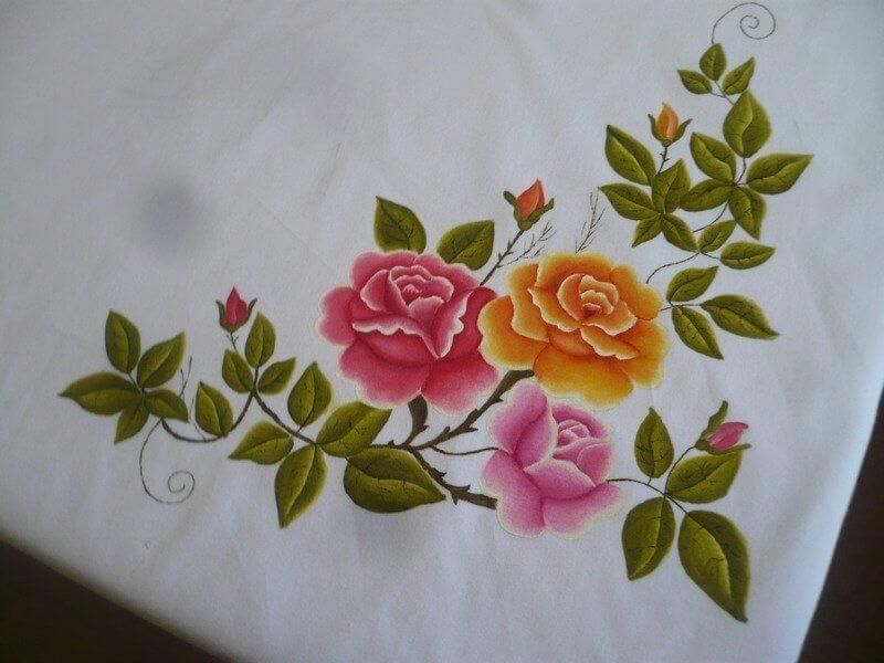 Pintura em tecido sobre placa de madeira