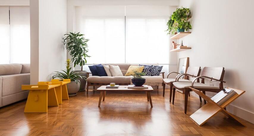 Pisos para sala de madeira Projeto de Studio Scatena