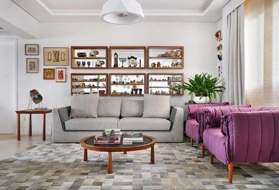 Poltronas para sala de estar pink Projeto de Ana Yoshida