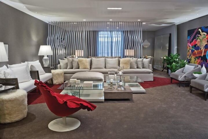 Poltronas para sala de estar vermelhas Projeto de Artefacto