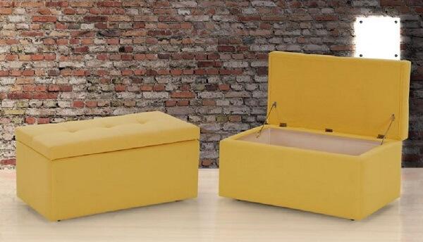 Puff baú amarelo