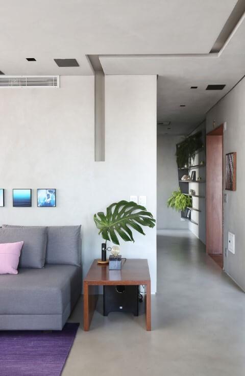 Sala de estar com pisos para sala de cimento queimado Projeto de Box 14